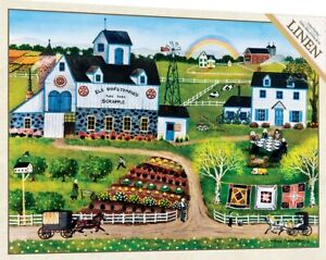 Jigsaw Puzzle Americana Farm Life Quilt Amish Frolic 750 pieces Linen NEW