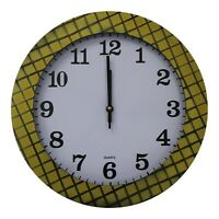 35cm Large Round Wall Clock With Quartz Movement Mustard Yellow & Criss Cross