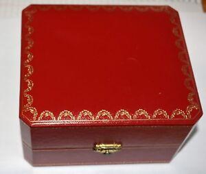 "Cartier Watch Box COWA0043  Red w/ Gold Trim About 6"" x 5"" x 3.5"""