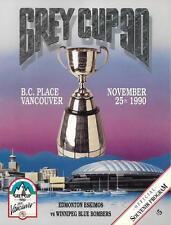 CFL Grey Cup 1990 Final Edmonton Eskimos Winnipeg Blue Bombers Official Program