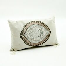 Rectangle Cream Cushion Luxury Linen Embroidered Filled 50 x 30cm Ex Large