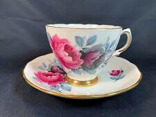 Colclough England Pink & Black Flowers - Bone China Tea Cup & Saucer- A9