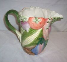 1986 Fitz and Floyd Ceramic Pitcher w/ Handle Harvest Home Vegetable 1 1/4 Qt