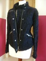 LADIES WHISTLES navy blue black MOHAIR wool mix JACKET size UK 14 military