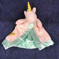 Baby Aspen Pink Blue Unicorn Rattle Lovie Security Blanket Plush