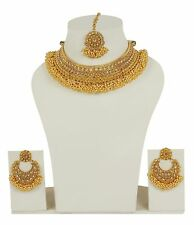 Indian Bollywood Pearl Stone Gold Plated Polki Bridal Jewelry Necklace Set 2319