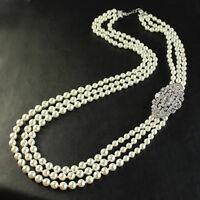 Collier Sautoir Long Perle Blanc Trois Rang Art Deco Retro Argenté Mariage JD3