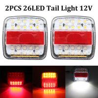 2x 26 LED Waterproof Tail Lights Kit Camper Trailer Truck Brake Turn Signal 12V
