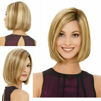 Fashion Blonde Bob Wig Synthetic Hair Short Straight Full Wigs Heat Resistant US