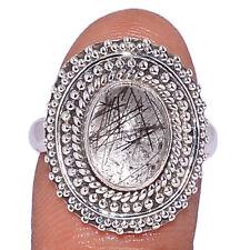 Black Tourmaline In Quartz - Shri Lanka 925 Silver Ring s.7 AR196441 207A