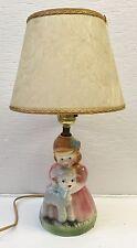 Vintage USA Pottery MARY HAD A LITTLE LAMB Child's Lamp w/Fiberglass Shade