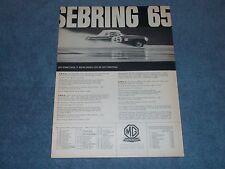 "1965 MG Austin-Healey Vintage Ad ""Sebring 65"" 12-Hours of Sebring"