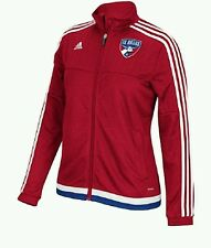 ADIDAS FC DALLAS WOMEN'S ANTHEM ZIP UP JACKET WFCDY2 RED/WHITE SIZE SMALL $90