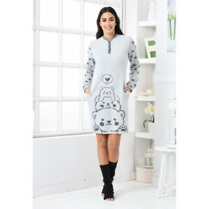 Maxi Pullover Kleid Biancaluna D6511 Punkt Mailand Grau Mit Bären