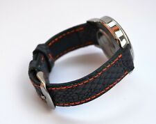 Watch Blue With Orange Sititching Handmade Genuine Leather Strap Band Men's