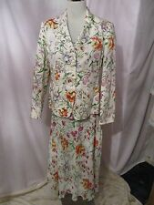 Ladies *VIYELLA* 3 piece outfit Jacket, Skirt & Top floral sz 12 petite perfect.