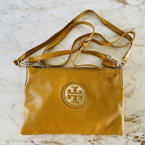 TORY BURCH Solid Yellow Orange Soft Leather Crossbody Bag