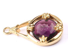 Vintage 1970s Avon Purple and Gold Tone Cameo Pendant
