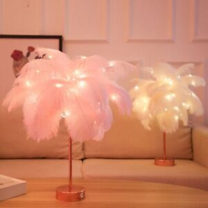 Elegant Warm White Remote Control Feather Table Lamp Battery Night Light Décor