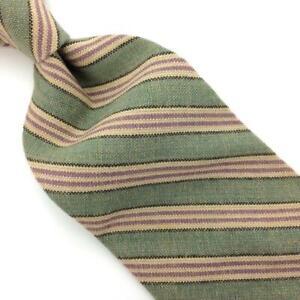 Polo Ralph Lauren Tie Cotton Lime-Green Brown Tan Stripe Necktie I19-10 Vintage