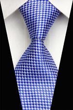 Blue & White tessuti a mano 100% PURA SETA Cravatta da uomo con motivo diamante di piccole dimensioni