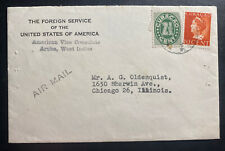 1947 Aruba Curacao Foreing Service Diplomatic Airmail Cover To Chicago IL USA