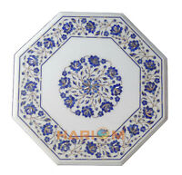 18'' White Marble Coffee Table Top Lapis Lazuli Floral Inlaid Outdoor Decor W282