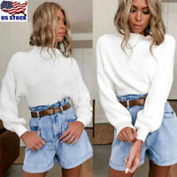Womens High Neck Knitted Sweater Tops Ladies Long Sleeve Casual Jumper Blouse US