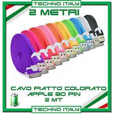 2 Metri Cavo (Cavetto) Dati 30 PIN PIATTO PER APPLE NOODLE per Iphone 4/4S iPad