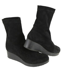 Robert Clergerie Nerdal Ankle Boot Wedge Black Stretch Suede $595 EU 37.5/US 6.5