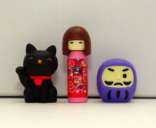 Japanese Manek Neko, Daruma, Kokeshi Doll Eraser Kawaii Made In Japan