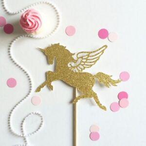 Gold Glitter Unicorn Pegasus Wings Cake Topper 15cm (approx) Magical Birthday
