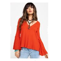 New.! Free People Parisian Nights Red Bell Sleeve Top Size M Lace Crochet V-Neck
