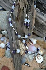 Handmade earring, bracelet & necklace set with Sterling Silver, White Jade & Ame