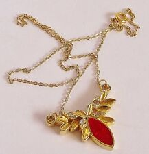 Vintage Necklace Red Foil Centre Ice Rhinestones in Tiny Gold Tone Petals VGC 96