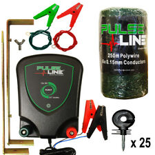 ELECTRIC FENCE ENERGISER PLB07 0.7J 250m Green Poly Wire 25 x Ring Insulators