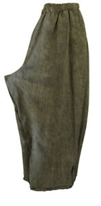 FLAX CROPPED Chambrays 💯 LINEN POCKETS PULL-ON ELASTIC WAIST SIDE SLITS SZ L