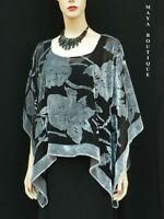 Silk Burnout Velvet Poncho Kimono Top Silver & Black No Fringe Maya Matazaro New