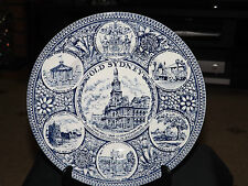 """VINTAGE BLUE/WHITE COLLECTOR PLATE WOOD & SON 10"""" ~ OLD SYDNEY"""