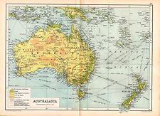 1909 MAP ~ AUSTRALIA ON MERCATORS PROJECTION PHYSIAL ~ NEW ZEALAND