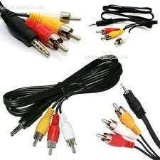 3.5mm Jack to 3 RCA Phono Lead Video/Audio/AV Cable For Canon/Sony/JVC Camcorder