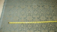 Teal Blue Beige Victorian Print Upholstery Fabric Remnant  F1040