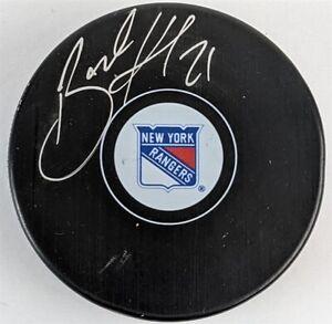 Brett Howden Signed Rangers Logo Hockey Puck (Fanatics Holo & Steiner Holo)