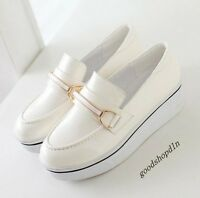 New Fashion Ladies Pumps Patent Leather Platform Metal Pull On Loafer Size 1.5-6
