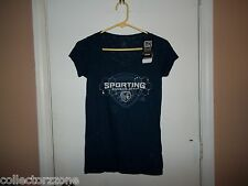 NWT ADIDAS MLS SPORTING KANSAS CITY WOMENS BLACK RHINESTONE SHIRT