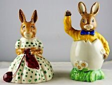 Pair Royal Doulton China Busy Needles & Easter Greeting Bunny Figurines