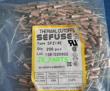 200pcs SF214E SEFUSE Cutoffs NEC Thermal Fuse 216°C Celsius Degree 10A 250V