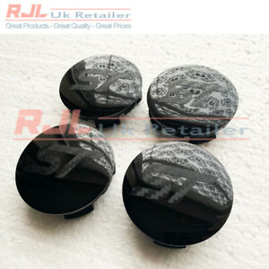 54.5mm BLOCK ST LOGO 3D Carbon Fiber Black Base St Alloy Wheel Centre Caps