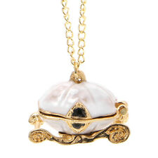 Disney Queen's Vintage Cinderella Magic Pumpkin Carriage Locket Necklace Gift