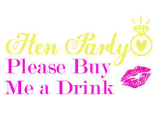 10 Gold Foil Hen Party Temporary Tattoos 'Buy me a Drink!' Highest quality